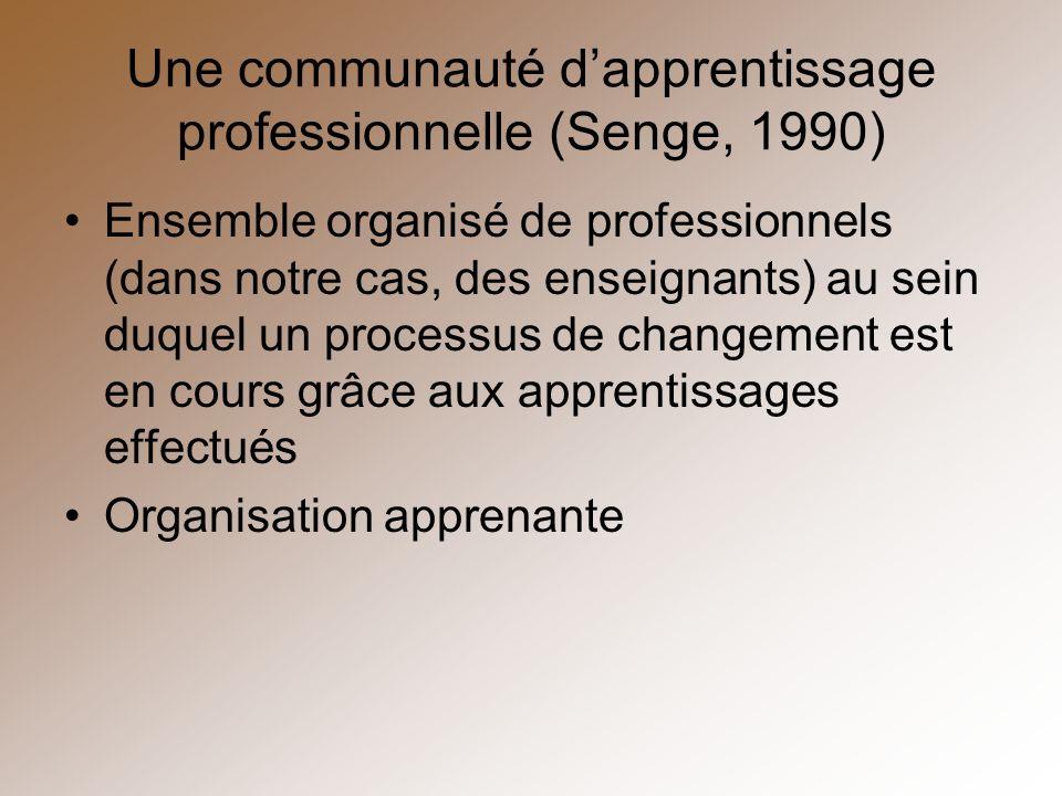 Une communauté d'apprentissage professionnelle (Senge, 1990)