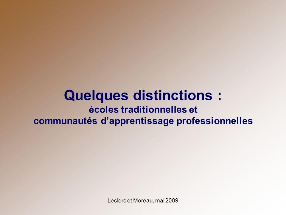 Quelques distinctions : écoles traditionnelles et communautés d'apprentissage professionnelles