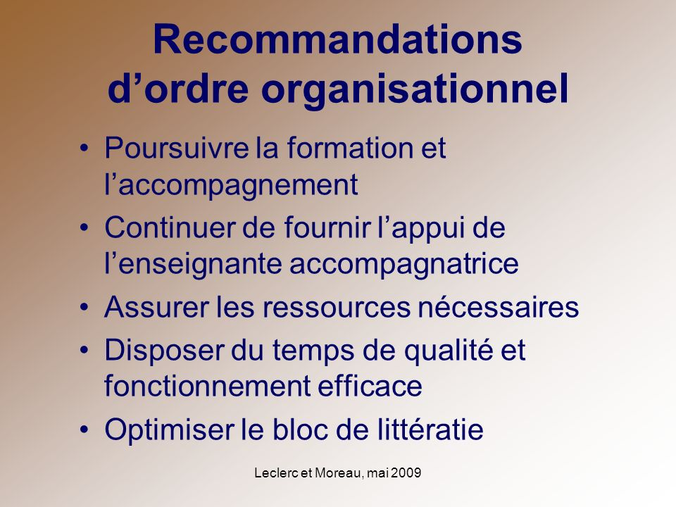 Recommandations d'ordre organisationnel