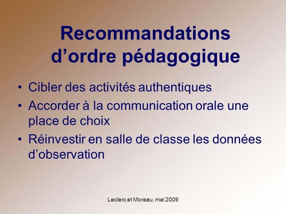 Recommandations d'ordre pédagogique