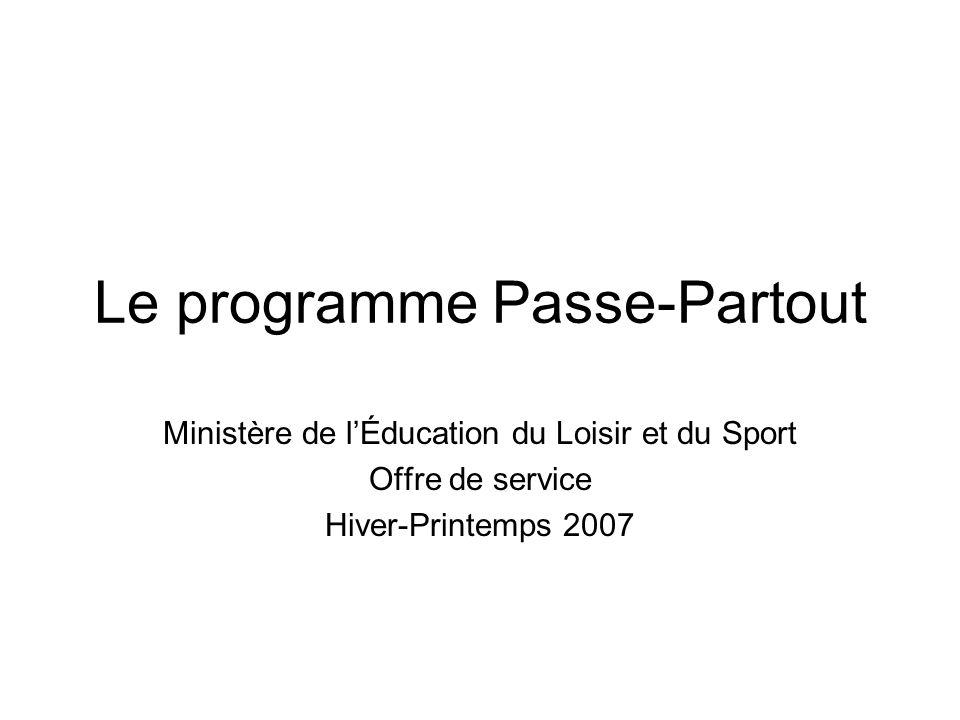 Le programme Passe-Partout