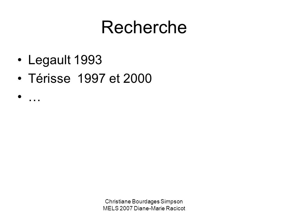 Christiane Bourdages Simpson MELS 2007 Diane-Marie Racicot