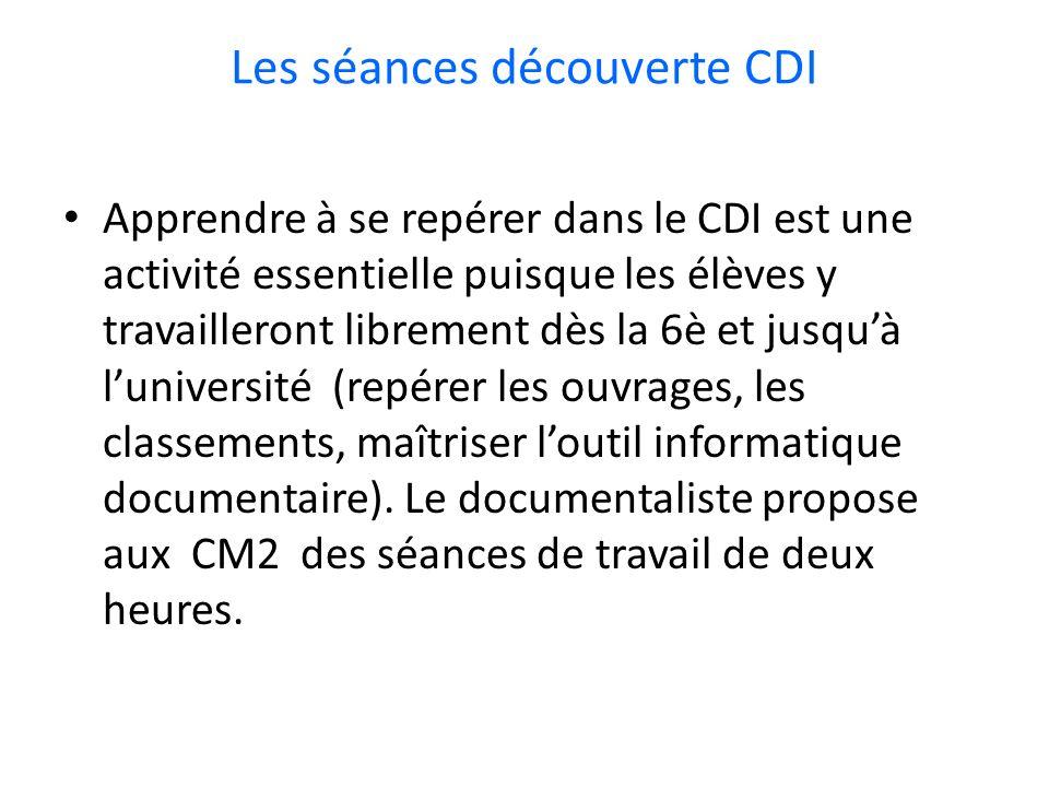 Les séances découverte CDI
