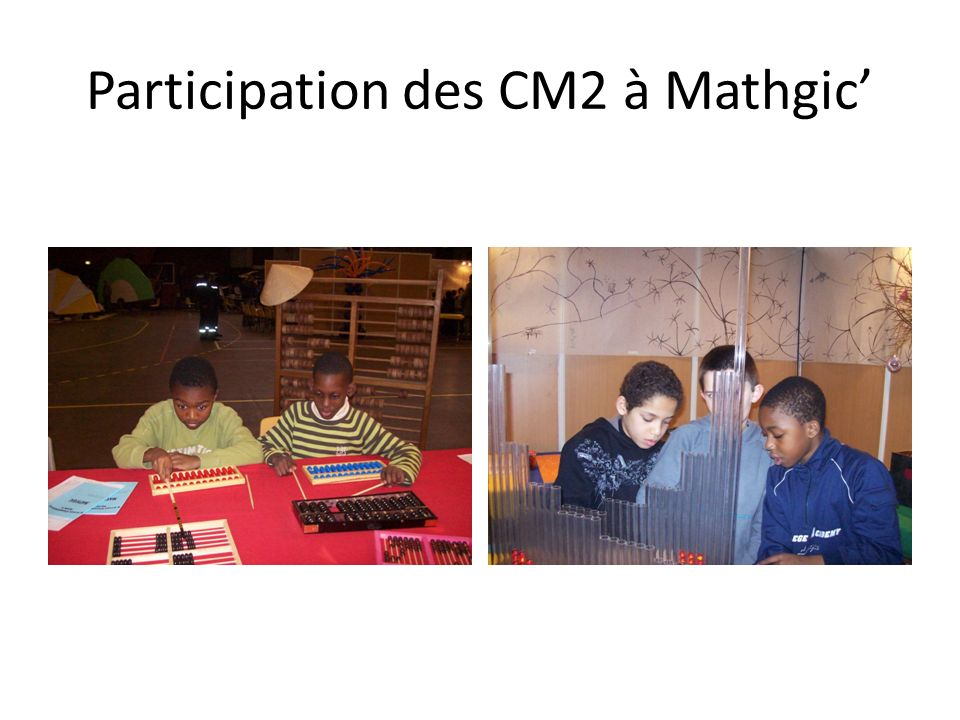 Participation des CM2 à Mathgic'