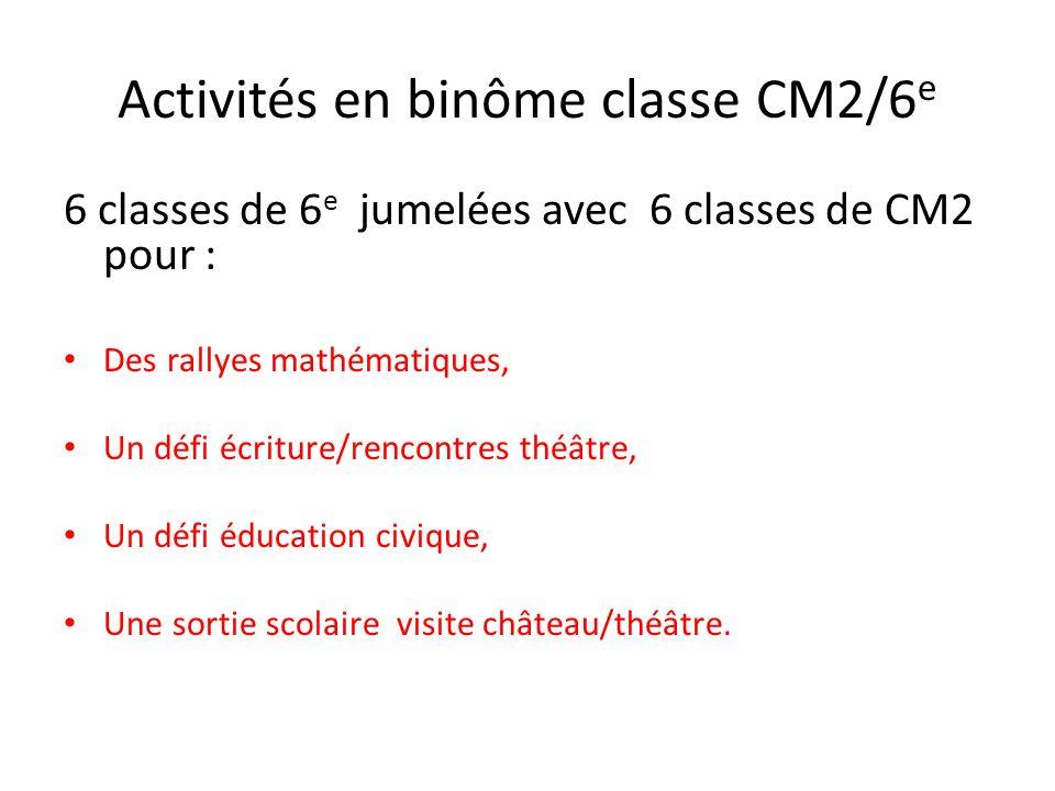 Activités en binôme classe CM2/6e