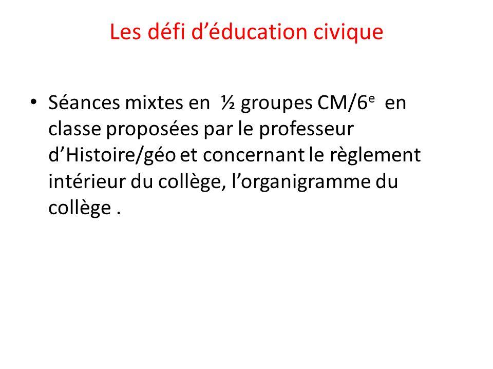 Les défi d'éducation civique