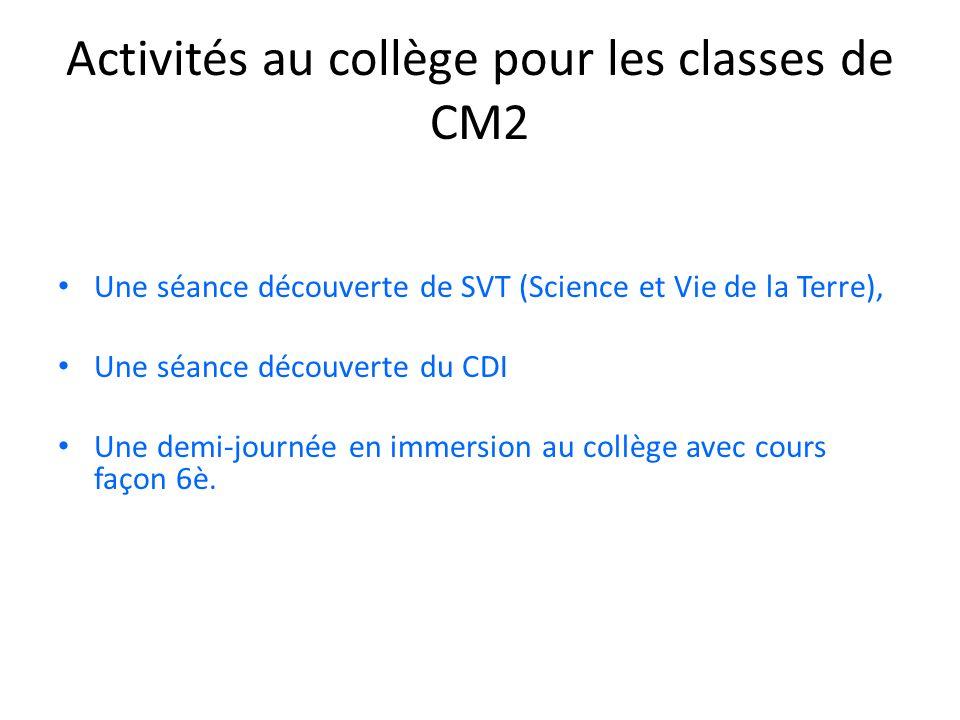 Activités au collège pour les classes de CM2