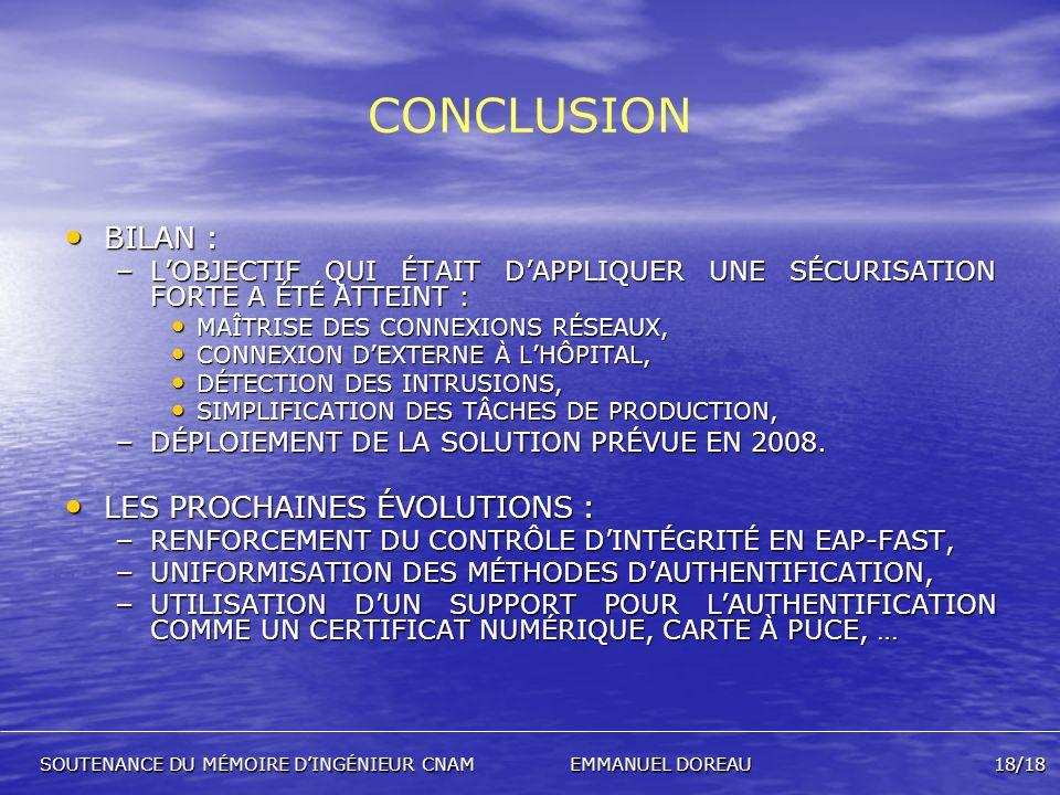CONCLUSION BILAN : LES PROCHAINES ÉVOLUTIONS :