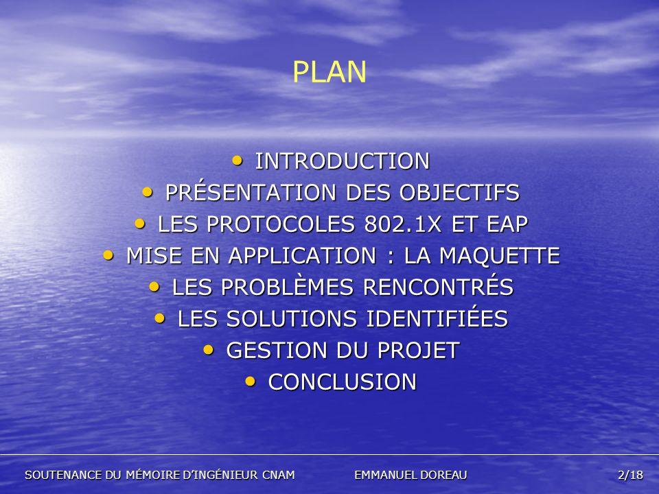 PLAN INTRODUCTION PRÉSENTATION DES OBJECTIFS