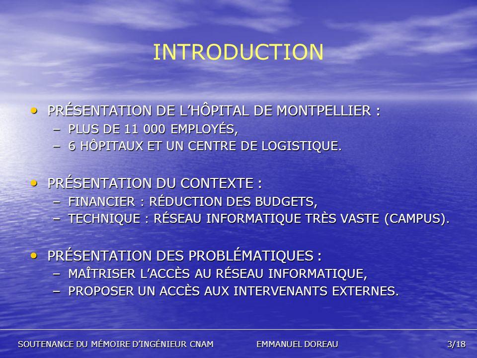 INTRODUCTION PRÉSENTATION DE L'HÔPITAL DE MONTPELLIER :