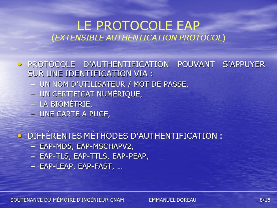 LE PROTOCOLE EAP (EXTENSIBLE AUTHENTICATION PROTOCOL)