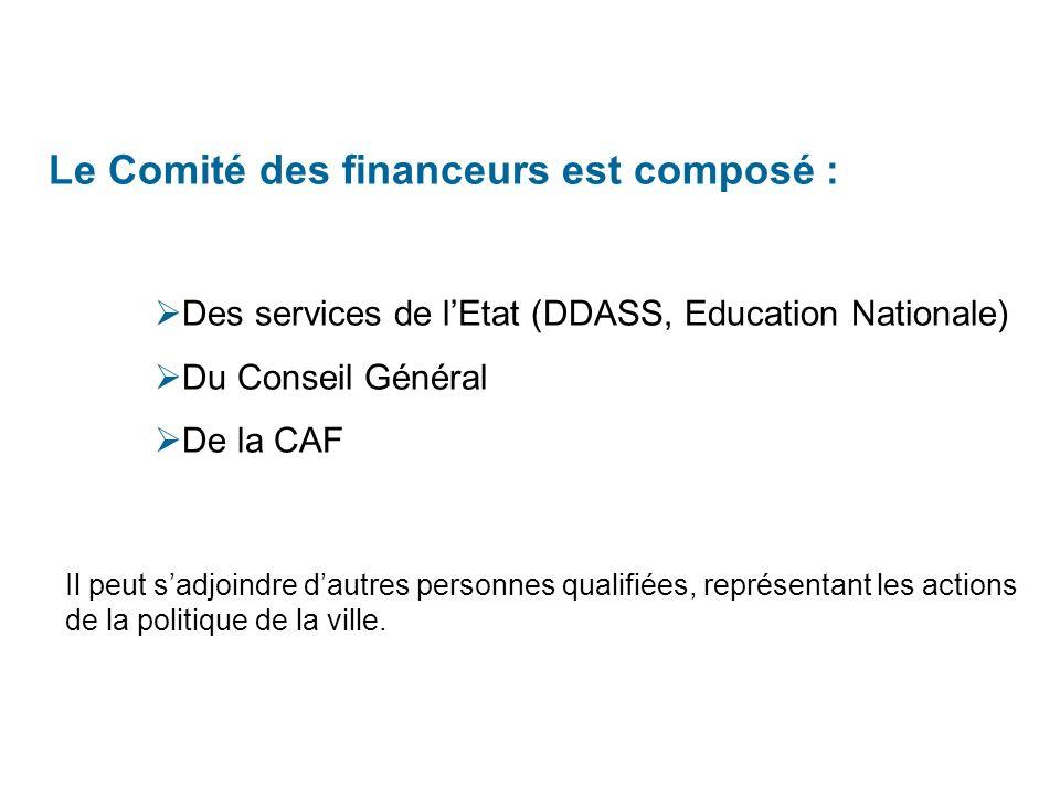 Le Comité des financeurs est composé :