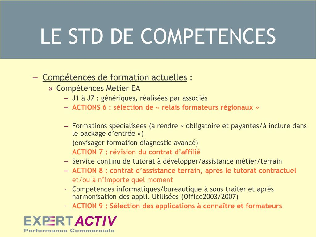 LE STD DE COMPETENCES THEME 2 : Sélection de formateurs potentiels