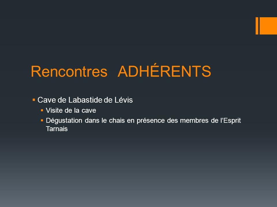Rencontres ADHÉRENTS Cave de Labastide de Lévis Visite de la cave