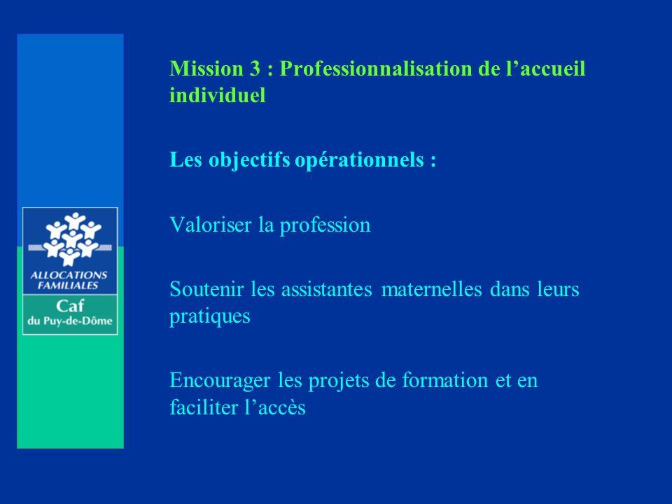 Mission 3 : Professionnalisation de l'accueil individuel