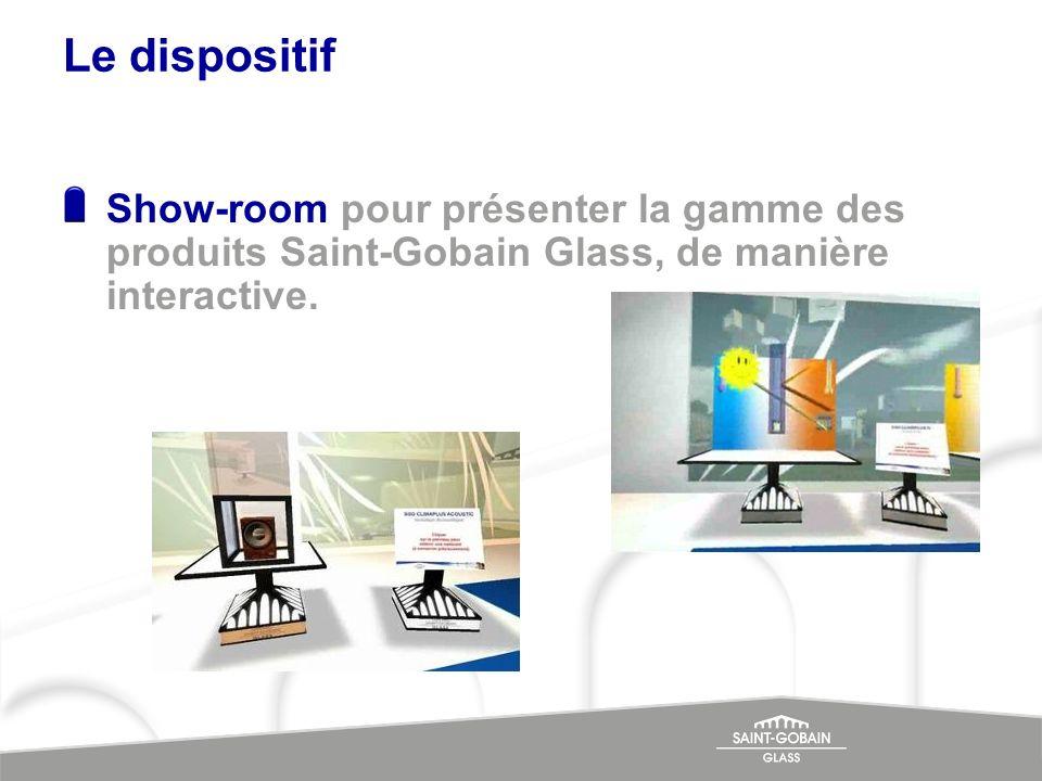 Le dispositif Show-room pour présenter la gamme des produits Saint-Gobain Glass, de manière interactive.