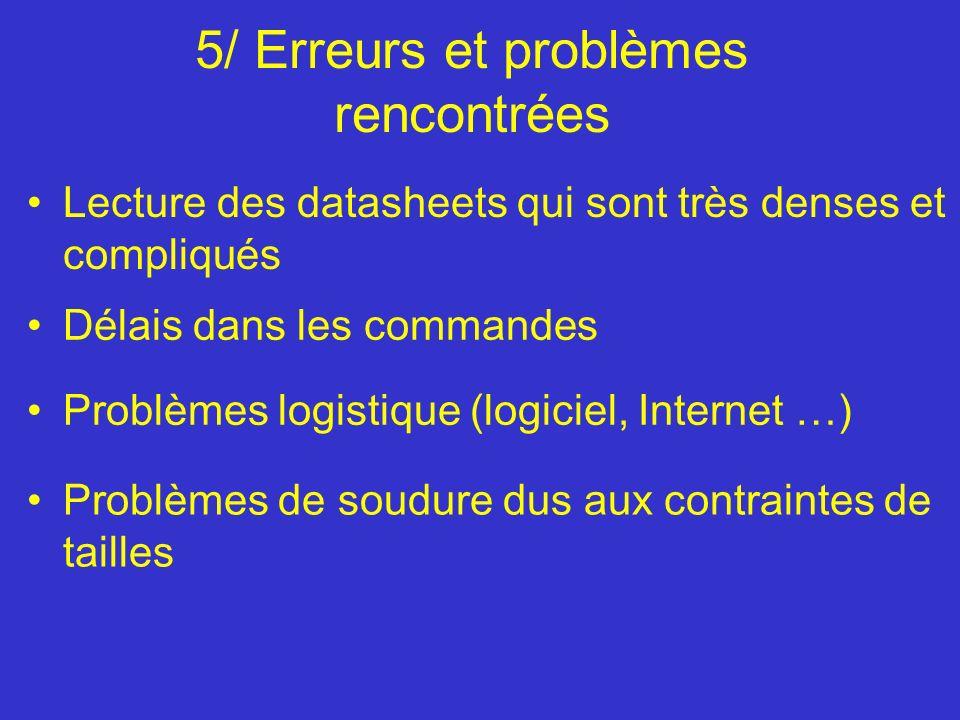 5/ Erreurs et problèmes rencontrées