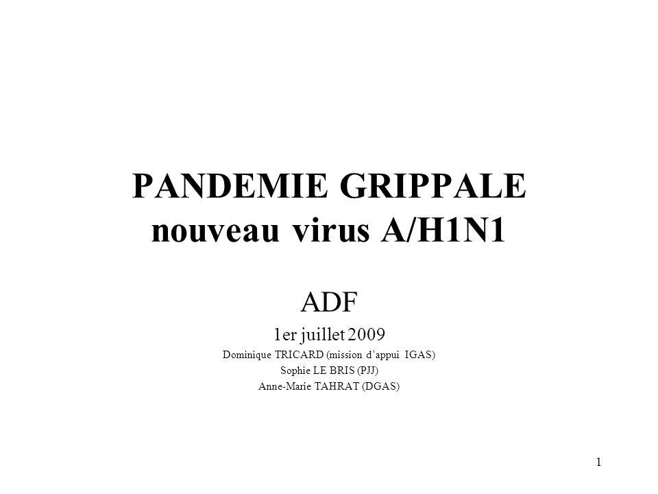 PANDEMIE GRIPPALE nouveau virus A/H1N1