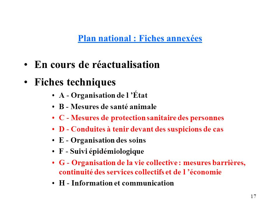 Plan national : Fiches annexées