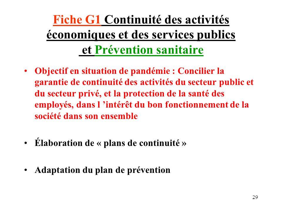 Fiche G1 Continuité des activités économiques et des services publics et Prévention sanitaire