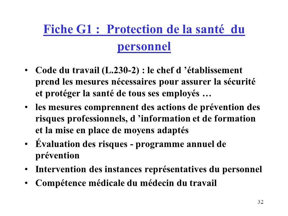 Fiche G1 : Protection de la santé du personnel