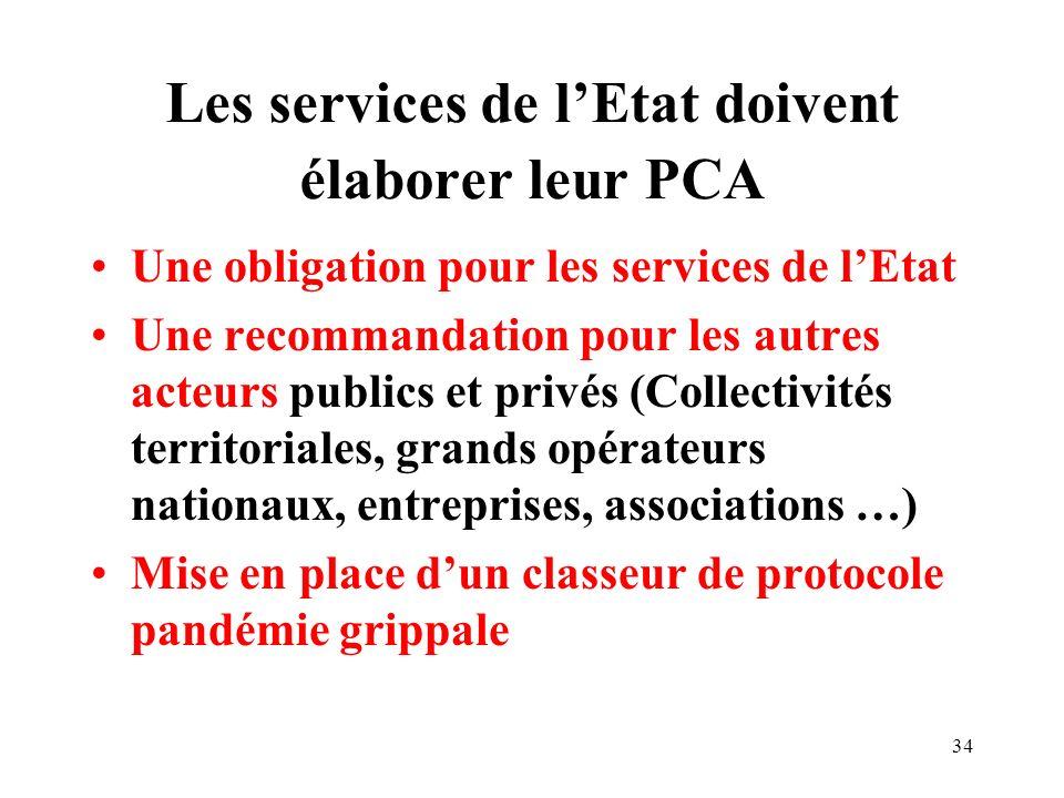 Les services de l'Etat doivent élaborer leur PCA