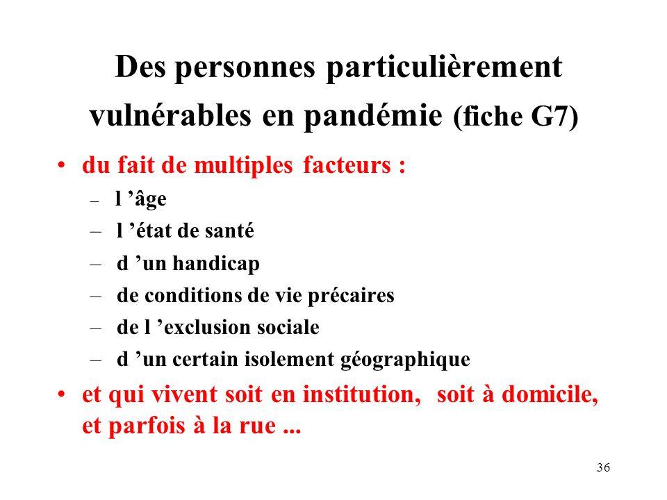 Des personnes particulièrement vulnérables en pandémie (fiche G7)