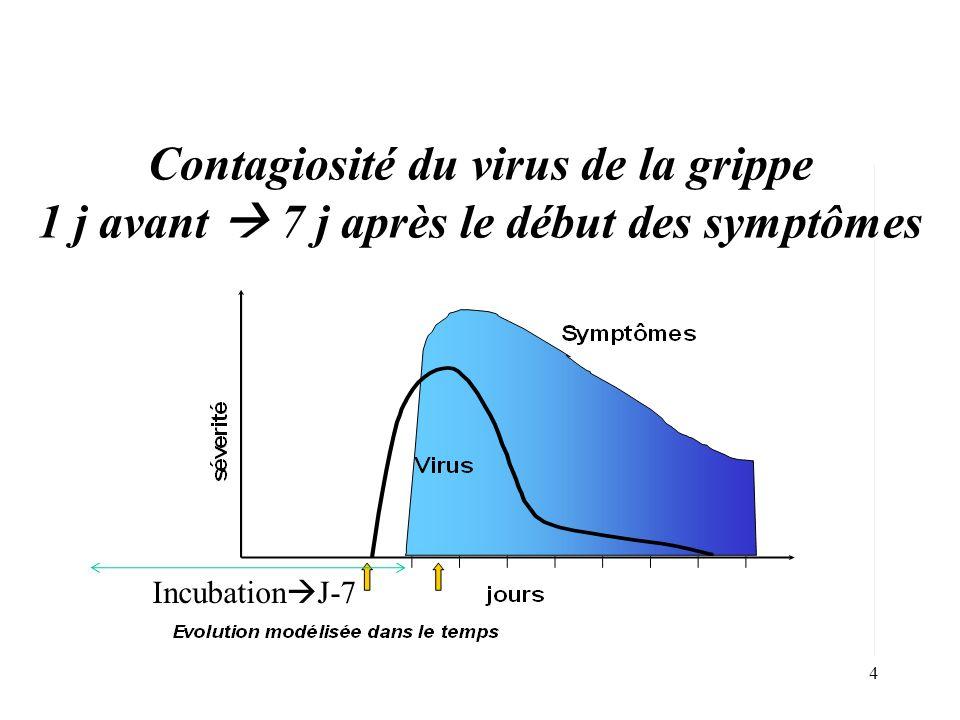 Contagiosité du virus de la grippe 1 j avant  7 j après le début des symptômes