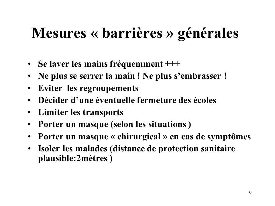 Mesures « barrières » générales