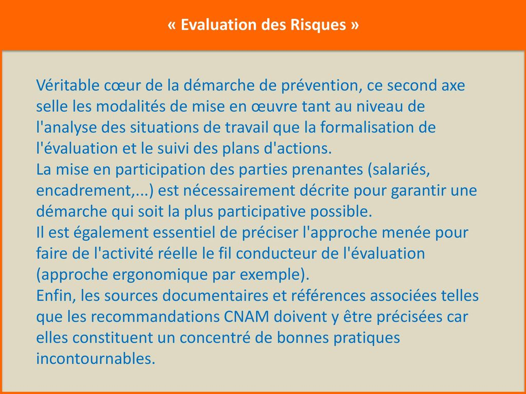 « Evaluation des Risques »