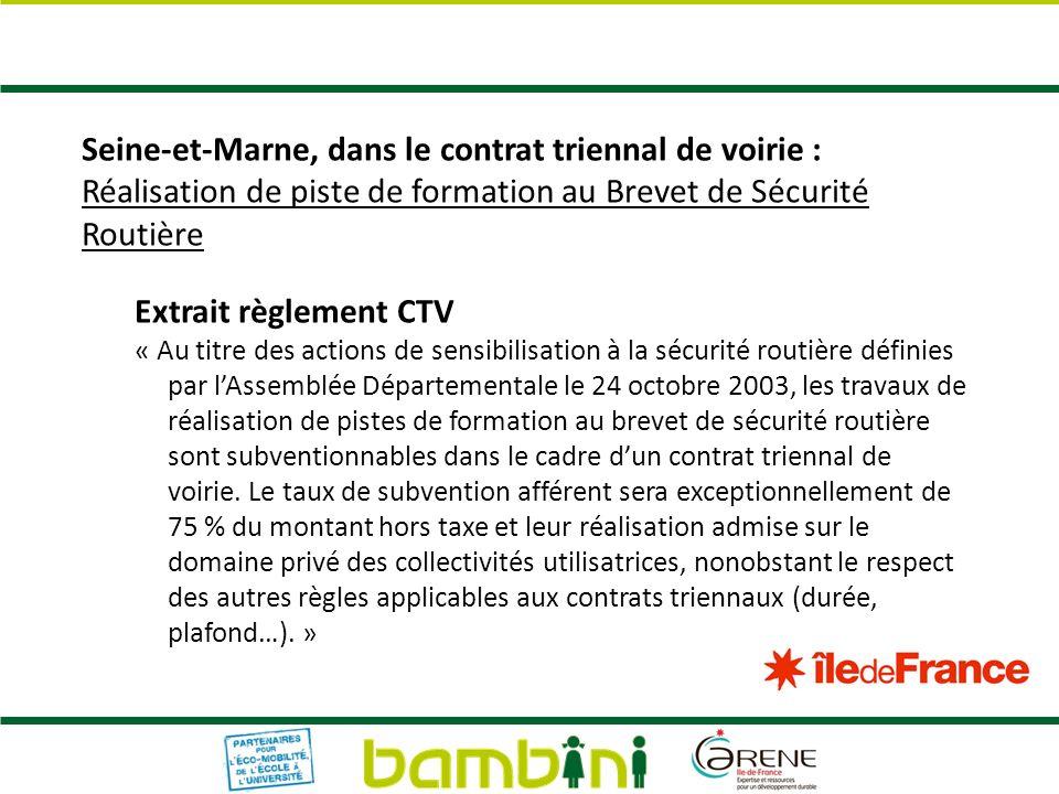 Seine-et-Marne, dans le contrat triennal de voirie :