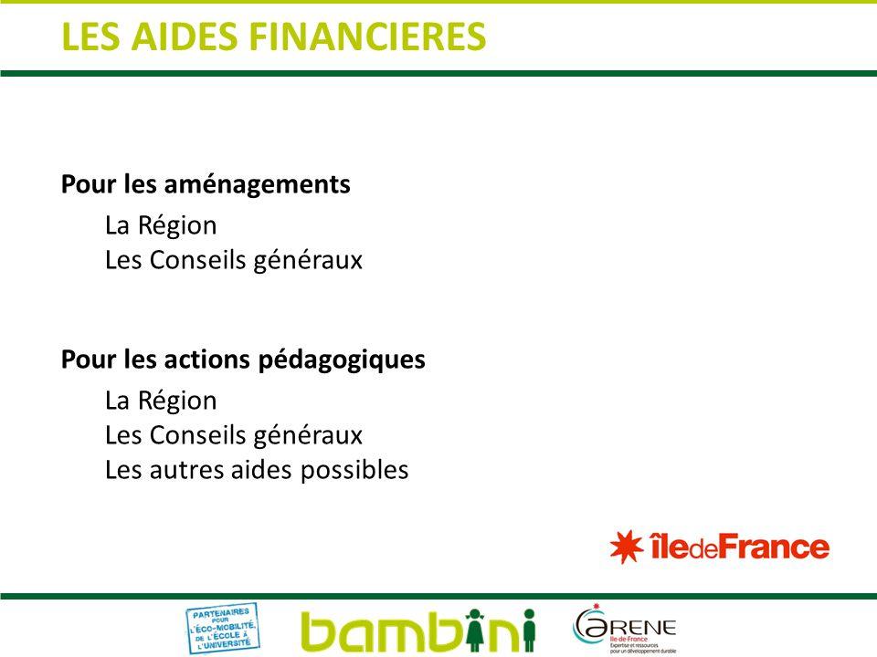 LES AIDES FINANCIERES Pour les aménagements La Région