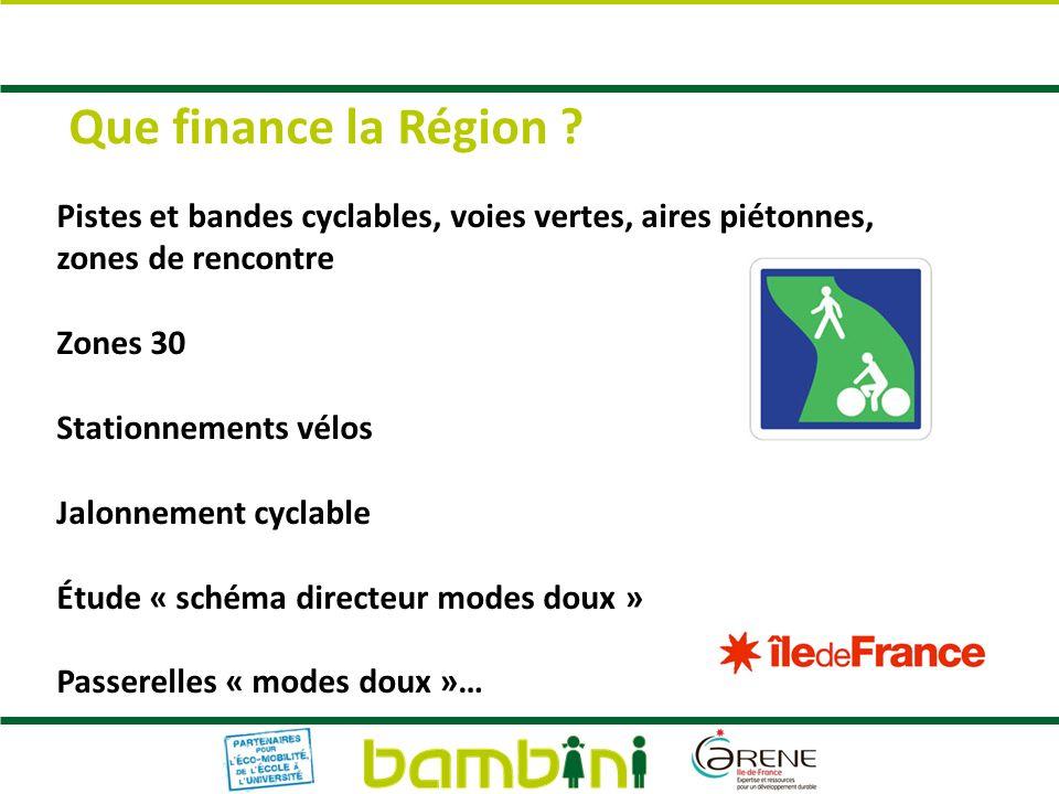 Que finance la Région Pistes et bandes cyclables, voies vertes, aires piétonnes, zones de rencontre.