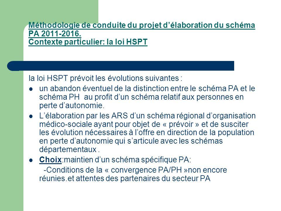 Méthodologie de conduite du projet d'élaboration du schéma PA 2011-2016. Contexte particulier: la loi HSPT
