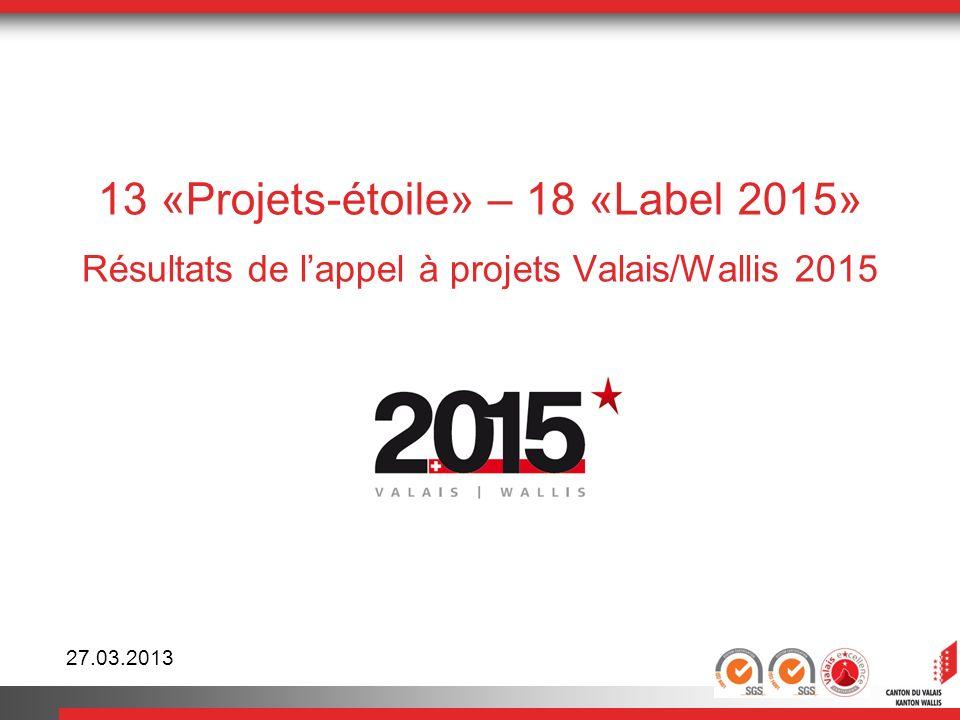 13 «Projets-étoile» – 18 «Label 2015» Résultats de l'appel à projets Valais/Wallis 2015