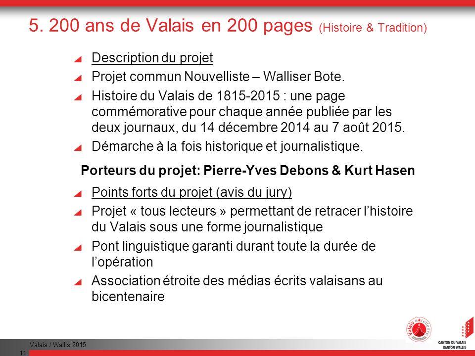 5. 200 ans de Valais en 200 pages (Histoire & Tradition)