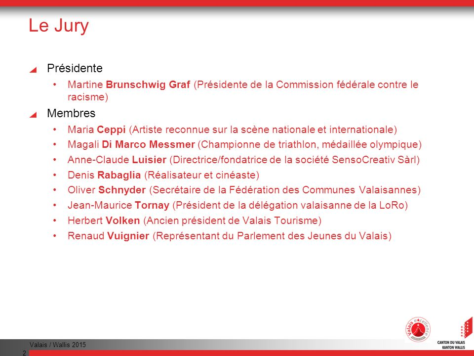 Le Jury Présidente Membres