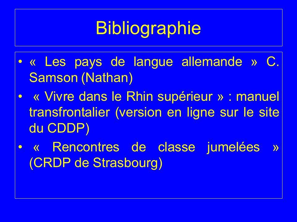 Bibliographie « Les pays de langue allemande » C. Samson (Nathan)