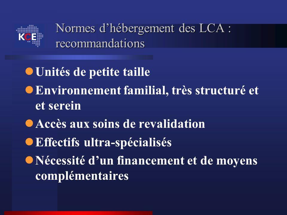 Normes d'hébergement des LCA : recommandations