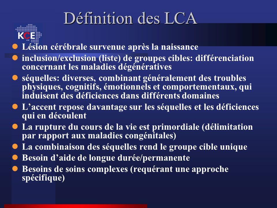 Définition des LCA Lésion cérébrale survenue après la naissance