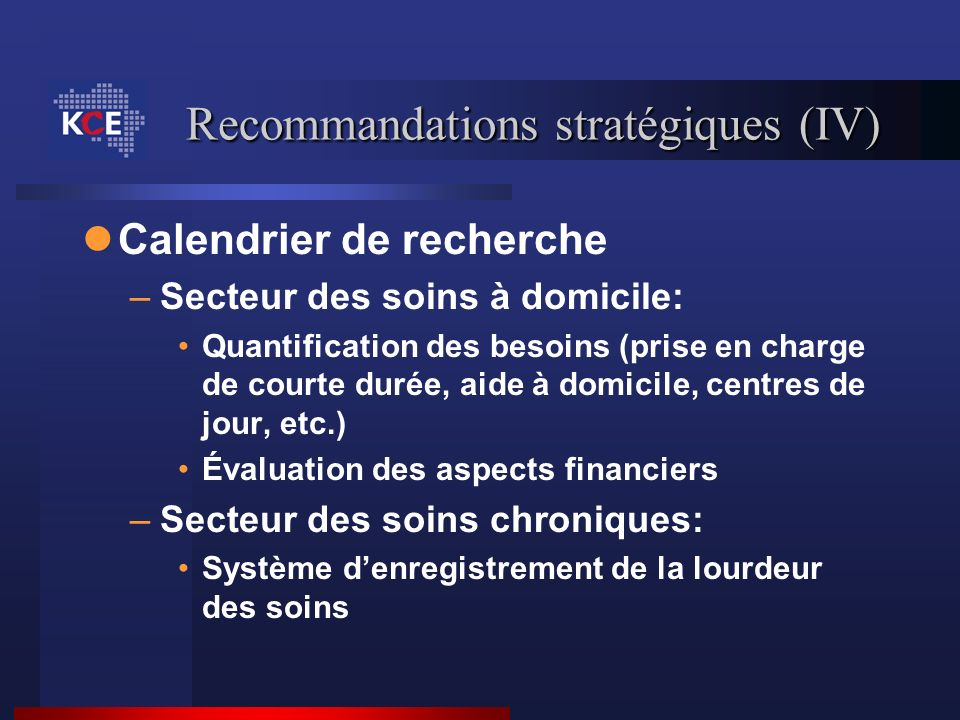 Recommandations stratégiques (IV)