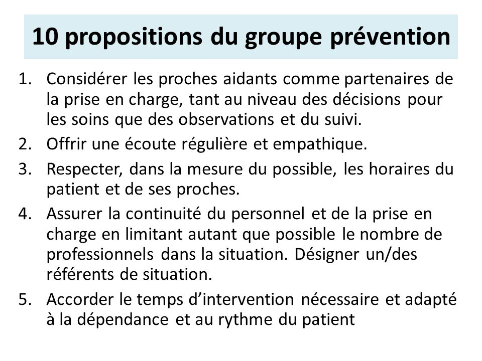 10 propositions du groupe prévention