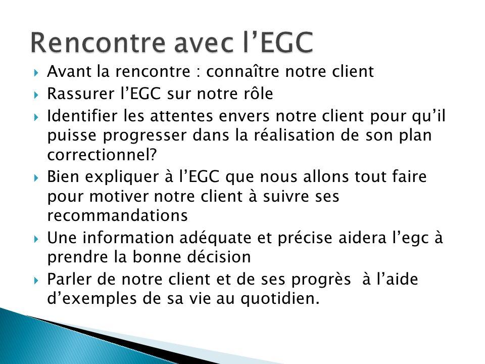 Rencontre avec l'EGC Avant la rencontre : connaître notre client