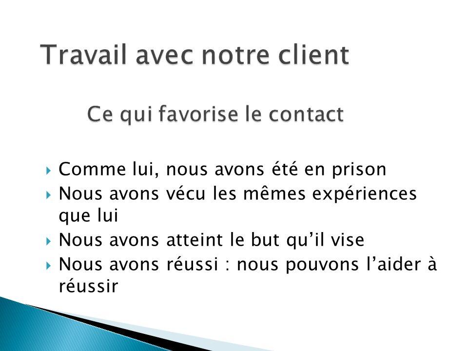 Travail avec notre client Ce qui favorise le contact