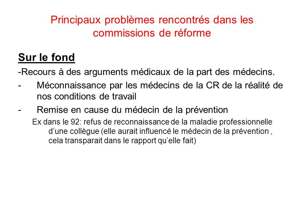 Principaux problèmes rencontrés dans les commissions de réforme