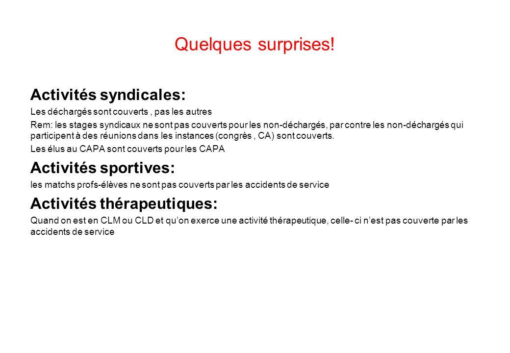 Quelques surprises! Activités syndicales: Activités sportives: