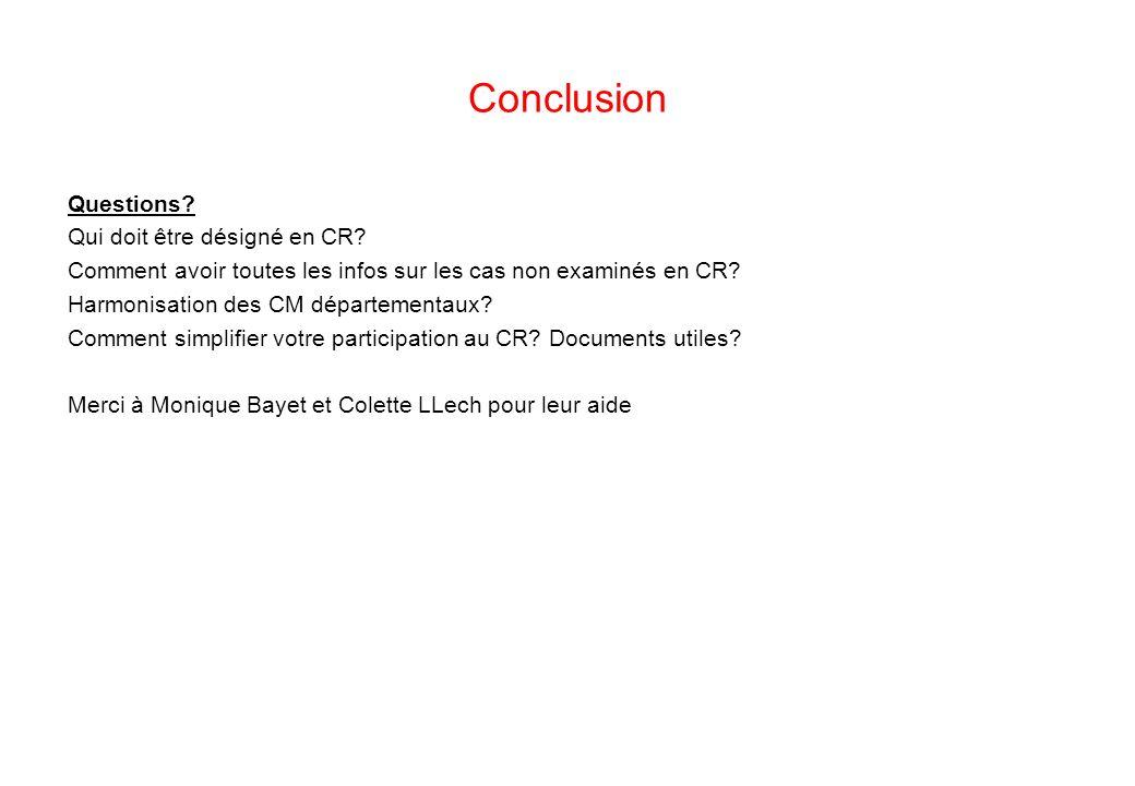 Conclusion Questions Qui doit être désigné en CR