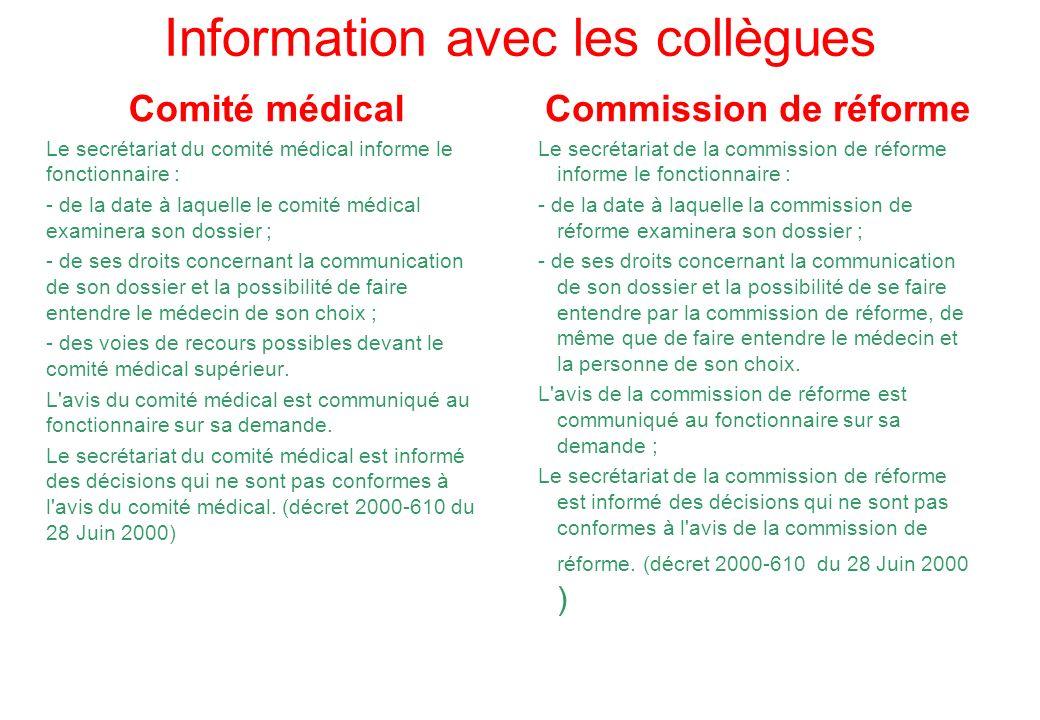 Information avec les collègues