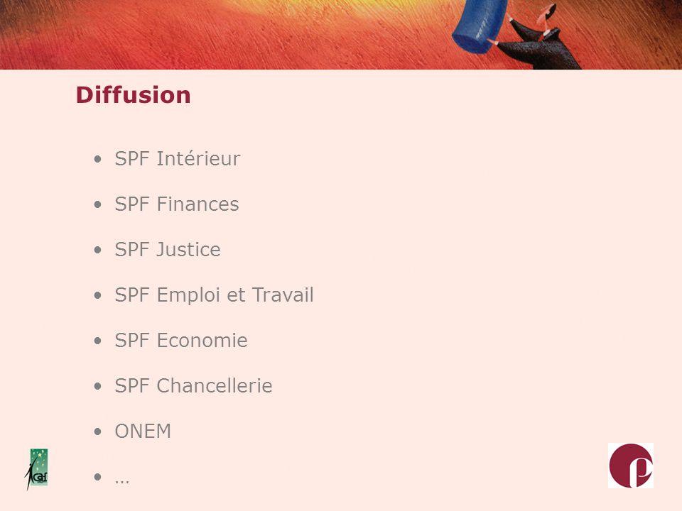 Diffusion SPF Intérieur SPF Finances SPF Justice SPF Emploi et Travail