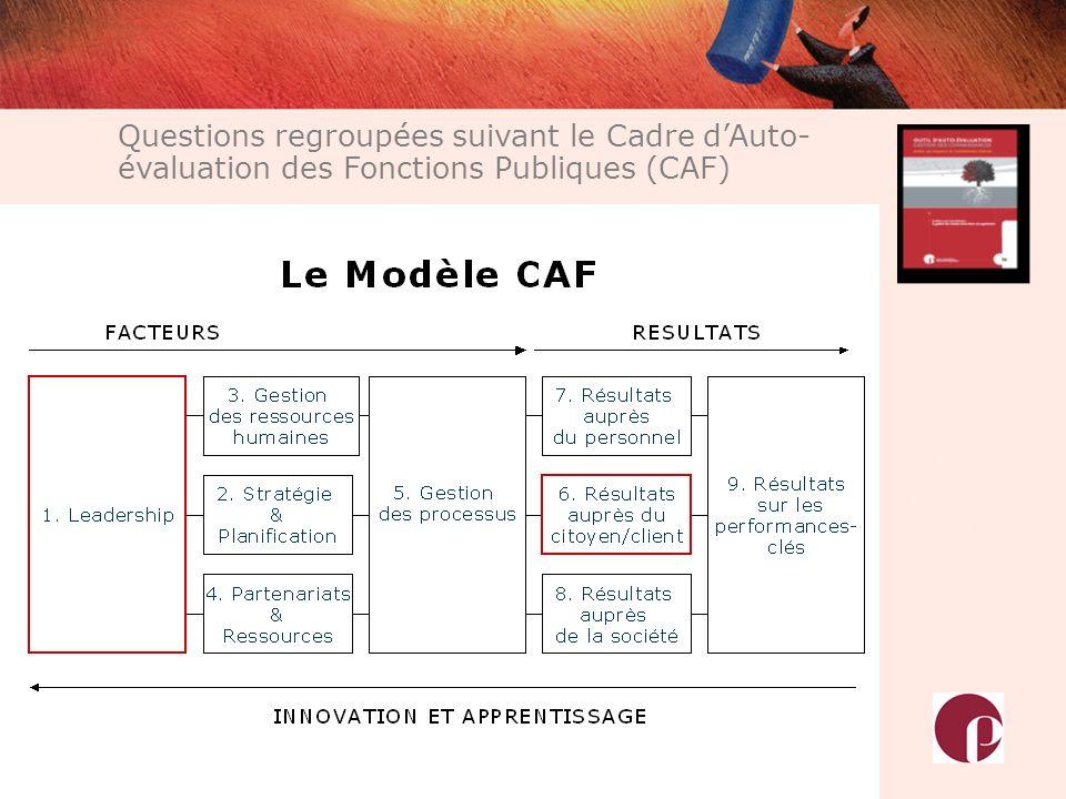 Questions regroupées suivant le Cadre d'Auto-évaluation des Fonctions Publiques (CAF)